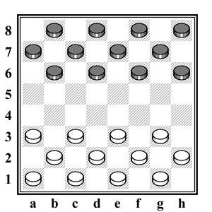 русские шашки - начальная расстановка шашек