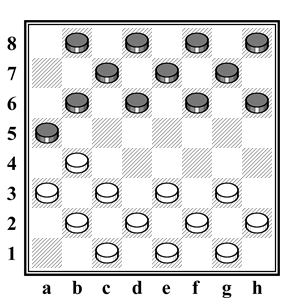 современные русские шашки - начальная расстановка