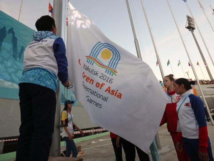 VI Международные спортивные игры «Дети Азии» поднятие флага