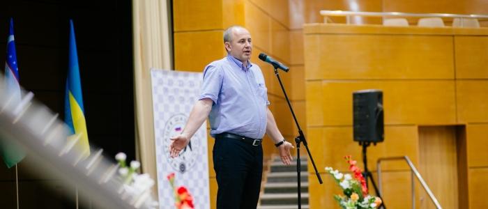 Андрей Фатеев на церемонии открытия Международного турнира по шашкам Коломна-2016