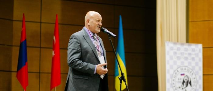 Александр Рацимор на церемонии открытия Международного турнира по шашкам Коломна-2016