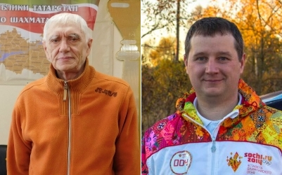Обратные шашки (поддавки), чемпионы России 2017 - Владимир Иванов и Сергей Шеханов